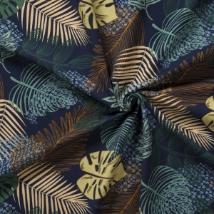 Jungle leaves - Navy Blue jersey 200g